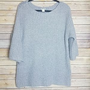 Loft gray oversized sweater elbow sleeve lounge S